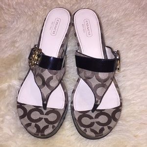 Coach wedged flip flops size 9B